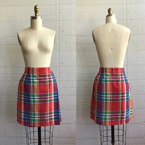 1980s Plaid Mini Skirt - Large
