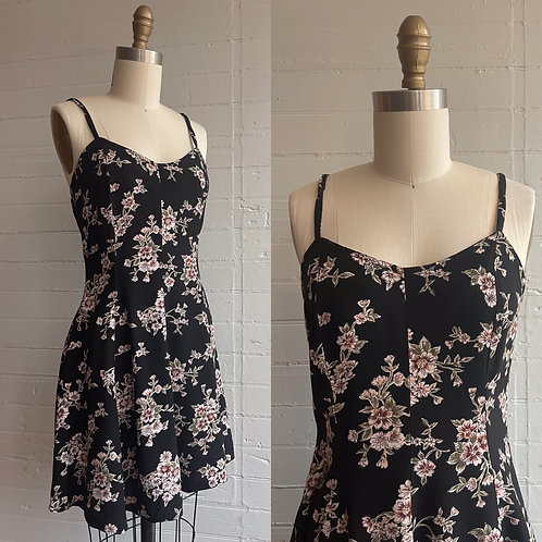 1990s Floral Rayon Mini Dress - XSmall