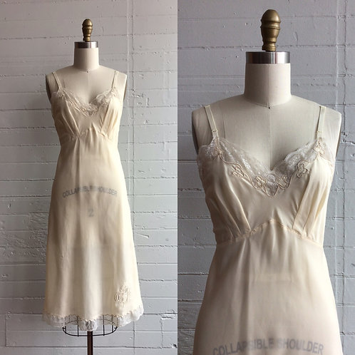 1950s Ivory Slip Dress - Medium