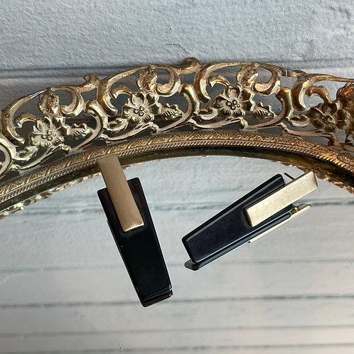 Long Gold and Black Stud Earrings