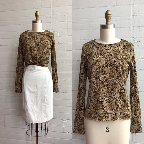 1990s Leopard Print Long Sleeve Top - Small