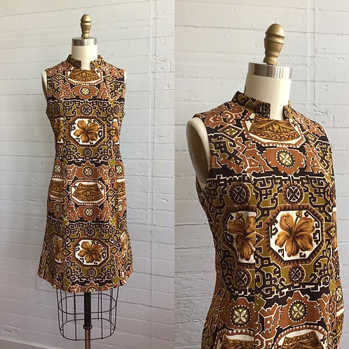 1970s Tropical Print Brown Mini Dress - Small / Medium