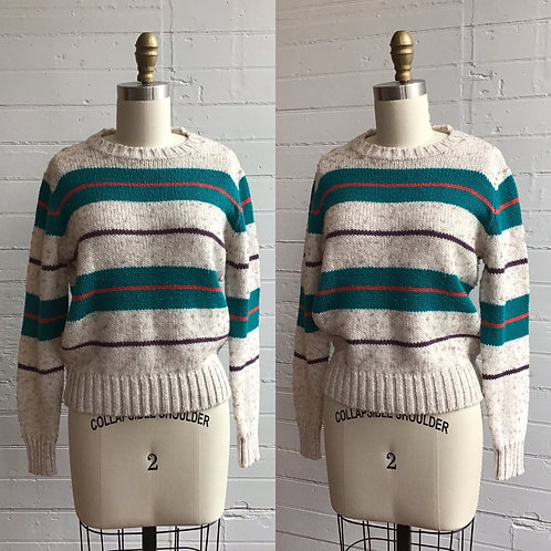 1980s Green and White Striped Sweater - Small / Medium