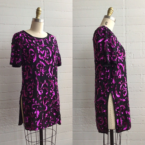 1980s Black and Purple Sequin Tunic - XSmall / Small