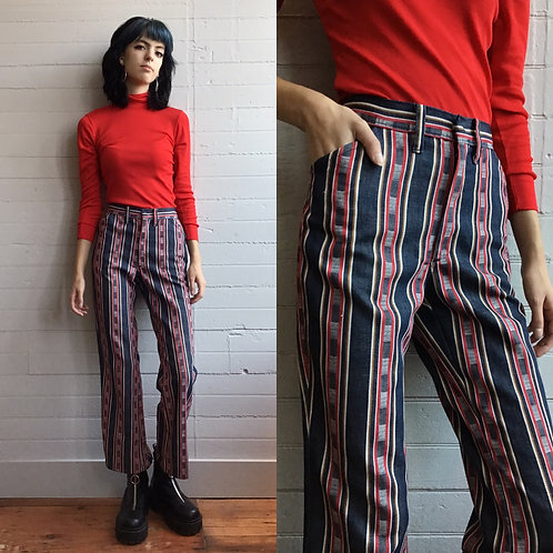 1970s Blue and Red Striped Flares - Medium / Large