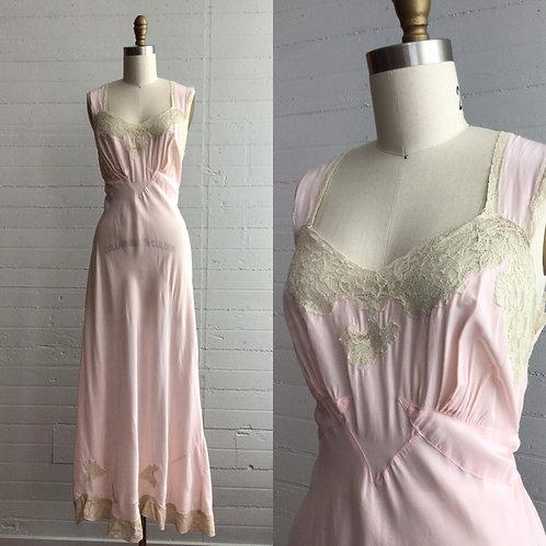 1940s Pale Pink Slip Dress - Medium / Large