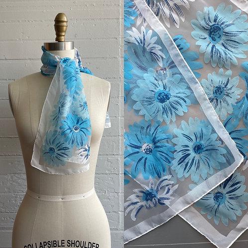 1970s Blue Floral Scarf