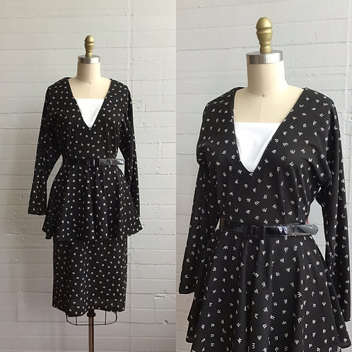 1980s Black and White Peplum Dress - Small / Medium