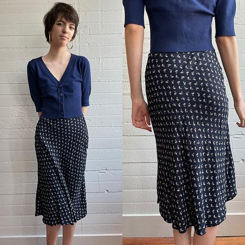 90s Rayon Midi Skirt - Small