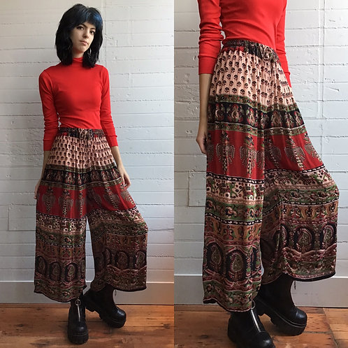 1980s Rayon Printed Elephant Pants - Small / Medium