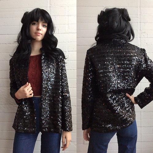 1970s Black Sequin Jacket - Medium/Large