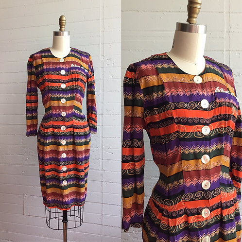 1980s Striped Button Front Wiggle Dress - Medium