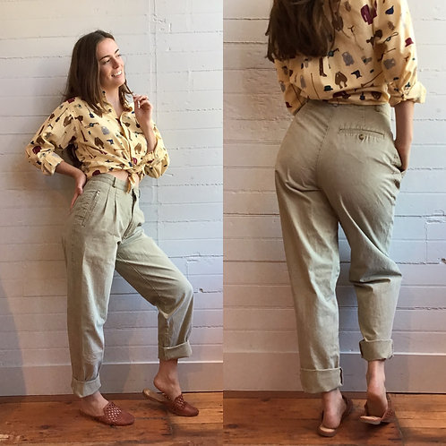 1980s Light Green Pleated Trouser - Small