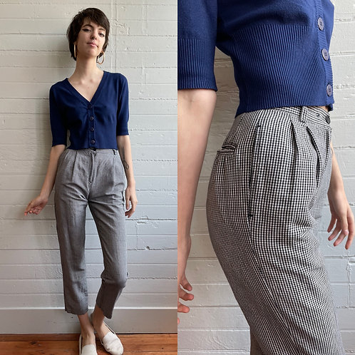 1980s Gingham High Rise Pants - XSmall