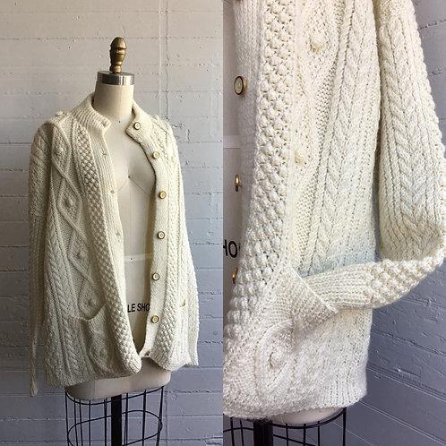 1980s Cream Hand Knit Cardigan Sweater - Large