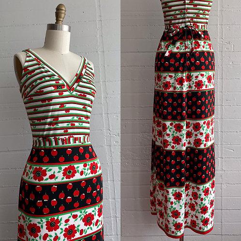 1970s Apple Print Maxi Dress - Small / Medium