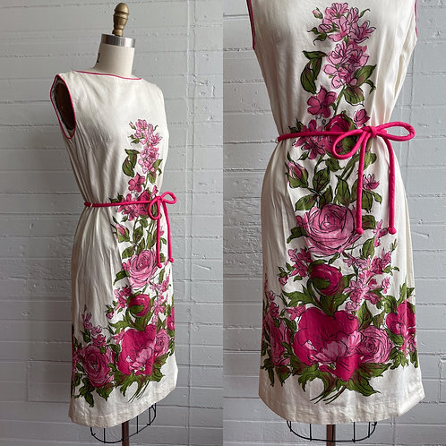 1960s Pink Rose Dress - Small