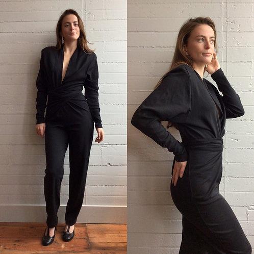 1980s Black Donna Karan Jumpsuit - Xsmall / Small