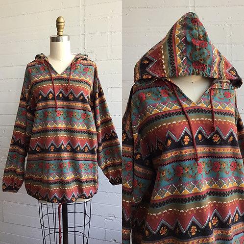 1980s Floral Stripe Hoodie - Medium / Large