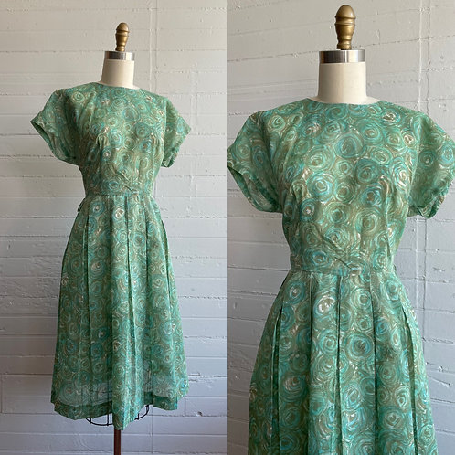 1950s Green Day Dress - Large