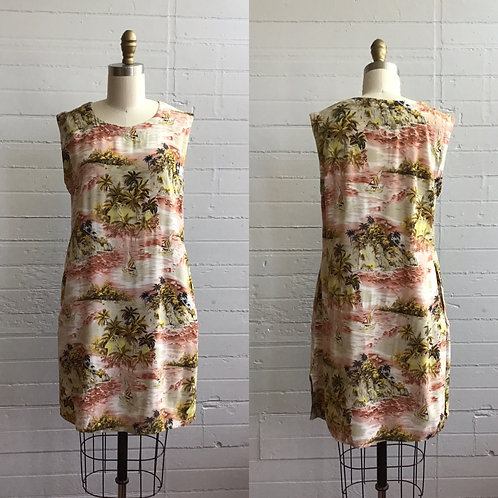 1990s Rayon Tropical Hawaiian Mini Dress - Medium