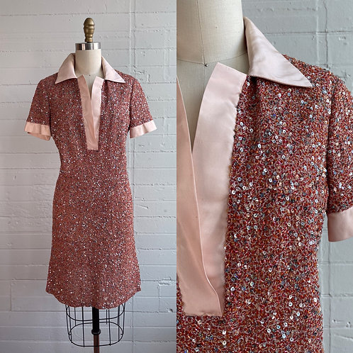1970s Pink Sequin Shift Dress - Medium