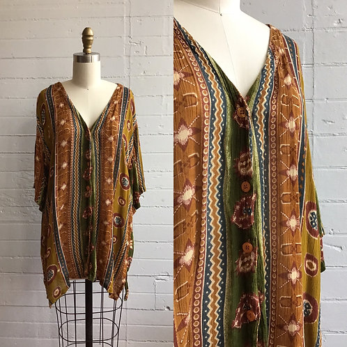 1980s Oversized Rayon Blouse - Medium / Large