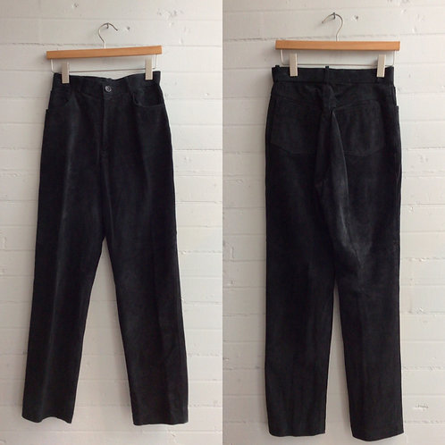 "1980s Black Suede High Rise Pants - 28"" Waist"