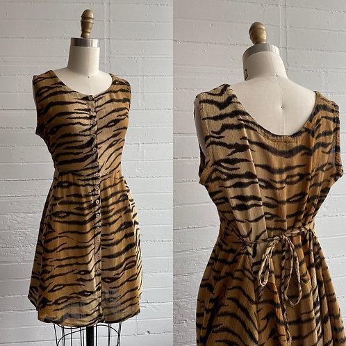 1980s Tiger Print Rayon Mini Dress - Small / Medium