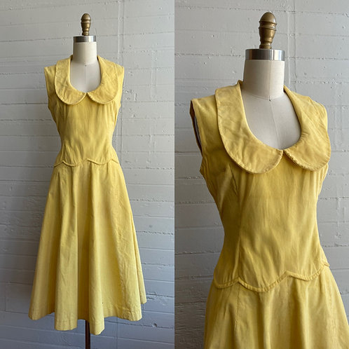 1940s Yellow Corduroy Dress - Medium