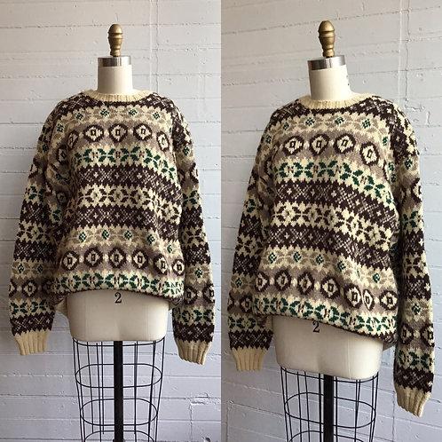 1980s Nordic Print Brown Cream Green Sweater - Large
