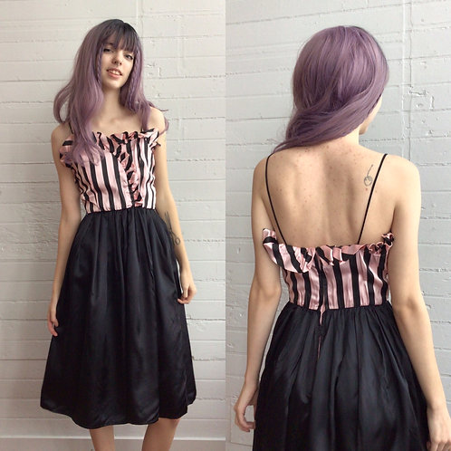 1980s Pink and Black Striped Dress - Xsmall