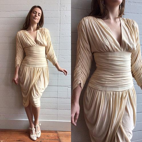 1980s Designer Vicki Tiel Cream Gathered Dress - Xsmall / Small