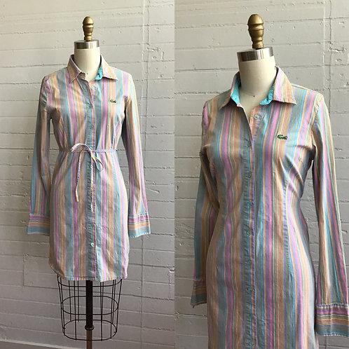 1990s 2000s Striped Lacoste Shirt Dress - Xsmall