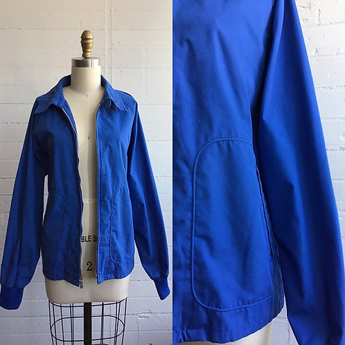 1980s Blue Zip Front Light Jacket - Large