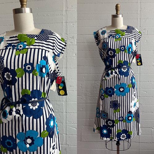 1960s Flower Power Dead Stock Dress - Large