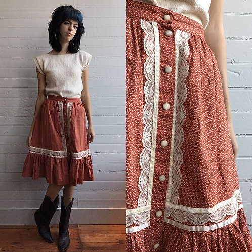 1970s Cotton Rust Color Peasant Skirt - Xsmall / Small