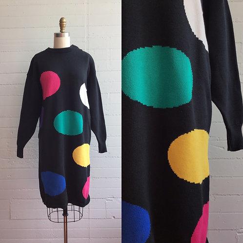 1980s Polka Dot Sweater Dress - Medium / Large