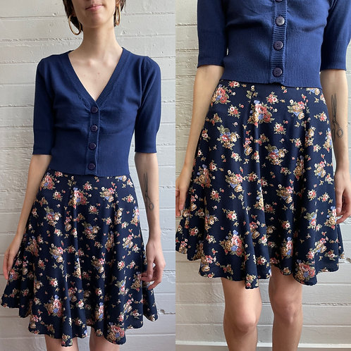 1990s Floral Navy Mini Skirt - Small