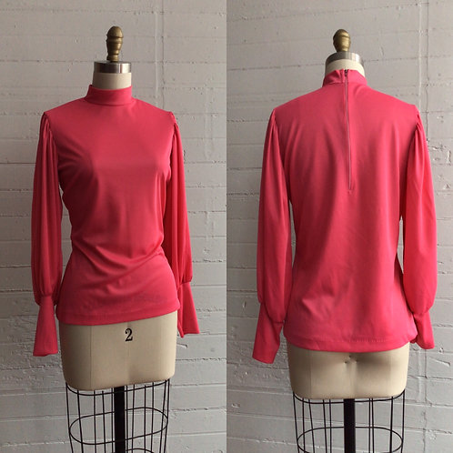 1970s Hot Pink Balloon Sleeve Blouse - Small