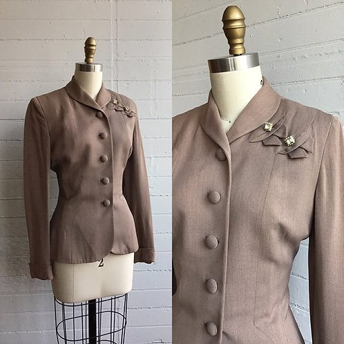 1940s Mauve Brown Blazer - Small / Medium