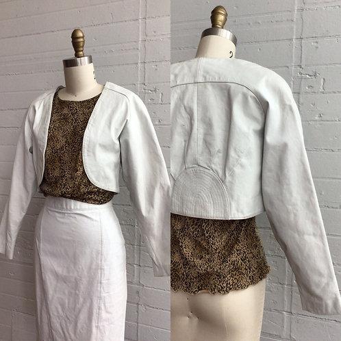 1980s White Leather Bolero - Medium