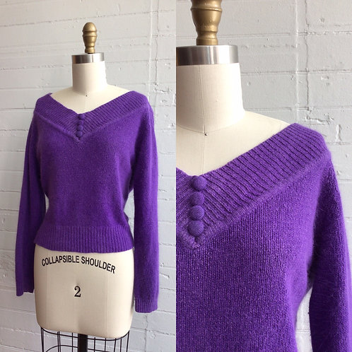 1980s Purple Off Shoulder Sweater - Medium / Large