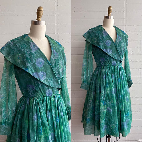 1960s Blue Green Floral Dress with Sheer Sleeves - Medium