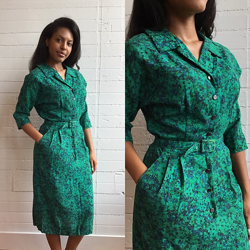 1950s Green Floral Wiggle Dress - Medium