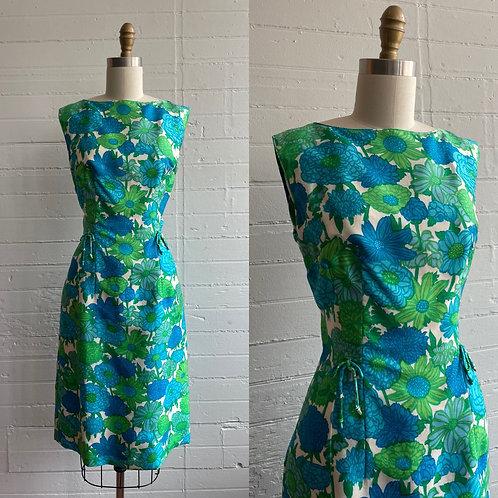 1960s Silk Flower Power Wiggle Dress - Medium
