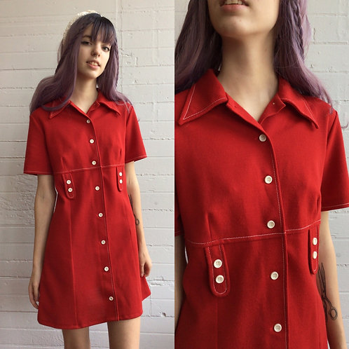 1970s Red Button Front Mini Dress - Medium