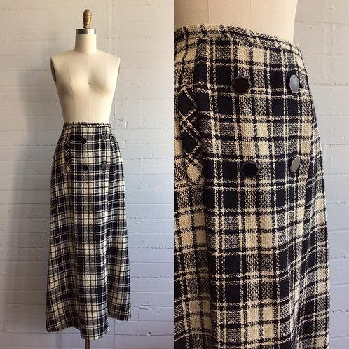 1970s Plaid Maxi Skirt - Medium