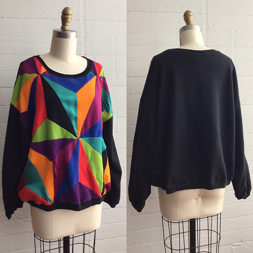 1980s Color Block Sweat Shirt - Large