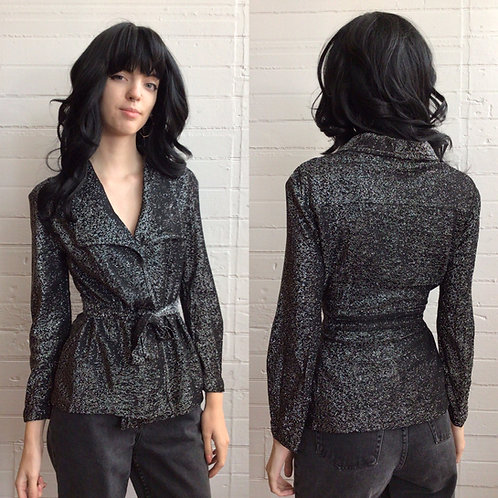 1970s Silver Lurex Wrap Front Top - Small / Medium